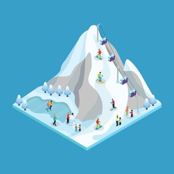 Isometric Winter Leisure Activity Concept