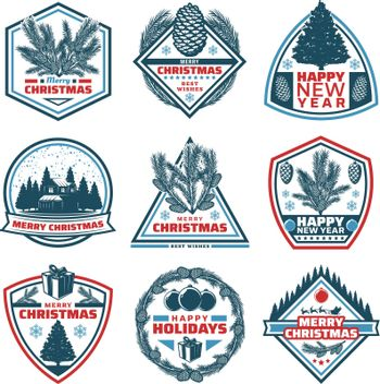 Vintage Merry Christmas Emblems Set