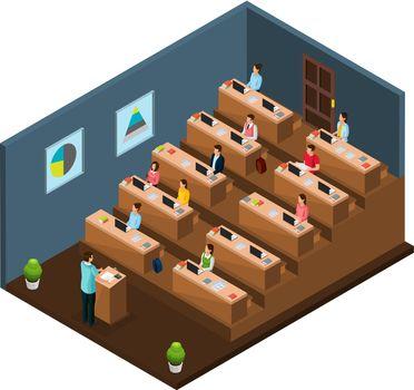 Isometric University Education Concept