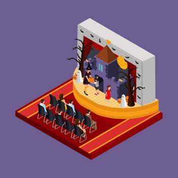Isometric Halloween Theatrical Performance Concept