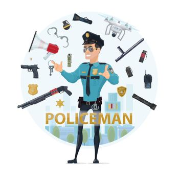 Police Officer Elements Round Concept