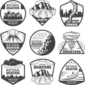 Vintage Monochrome Natural Disaster Labels Set
