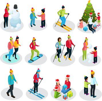Isometric People On Winter Holidays Set