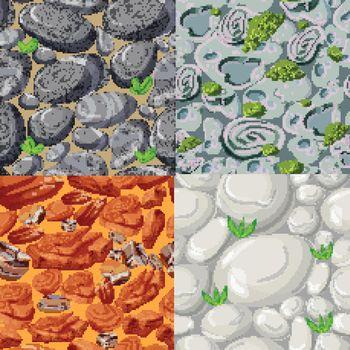 Cartoon Stones Seamless Patterns Set