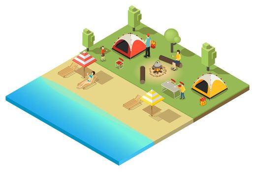 Isometric Camping And Hiking Template