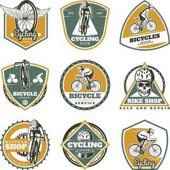 Colored Vintage Biking Labels Set