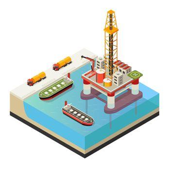 Isometric Water Oil Platform Concept