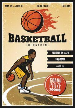 Colored Vintage Basketball Championship Poster