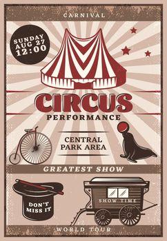 Vintage Circus Performance Poster