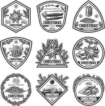 Vintage Monochrome Christmas Spices Labels Set