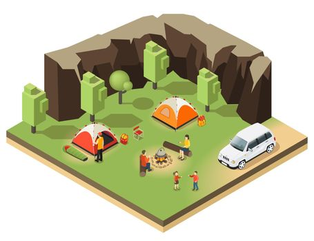 Colorful Isometric Outdoor Recreation Concept