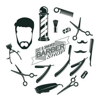 Monochrome Vintage Barber Shop Elements Concept