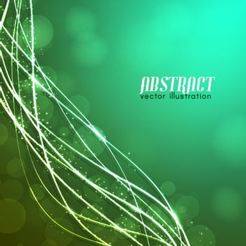Green Background With Glowing Fibres