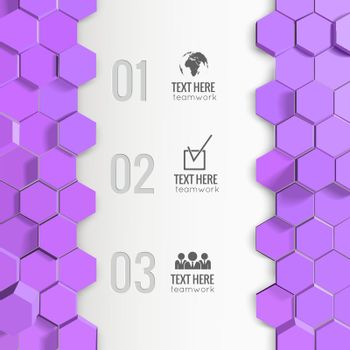 Business Infographics With Lilac Hexagons