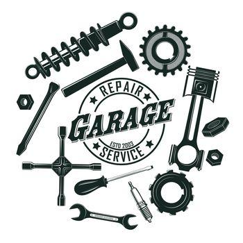 Monochrome Vintage Garage Tools Round Concept