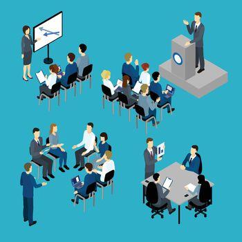 Business Training Isometric Set