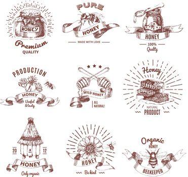 Honey Hand Drawn Emblems