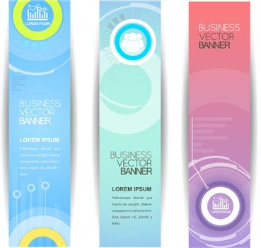 Business Banners With Digital Panel Elements