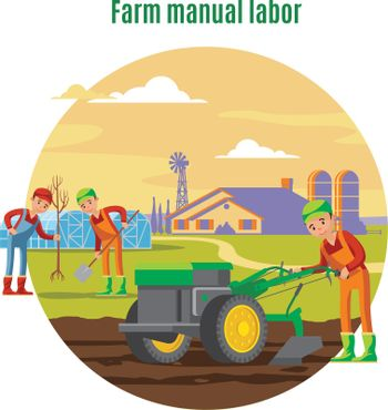 Farming And Agricultural Manual Labor Concept