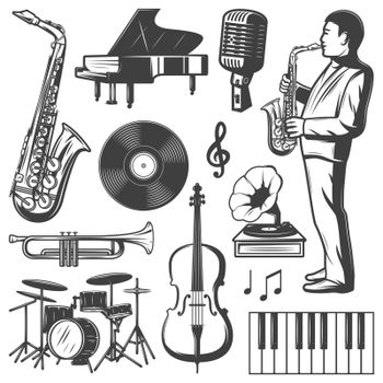 Vintage Jazz Music Elements Collection
