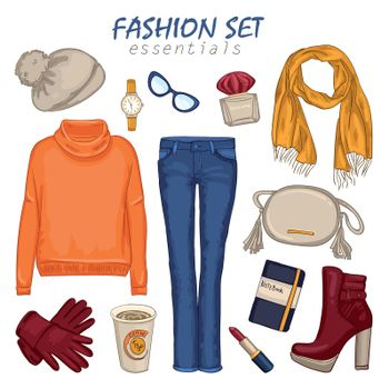 Fashionable Clothing Girl Composition