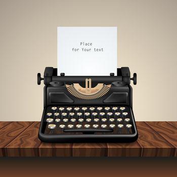 Black Vintage Typewriter On Wooden Table