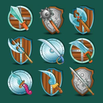 Medieval Weapon And Shields Set