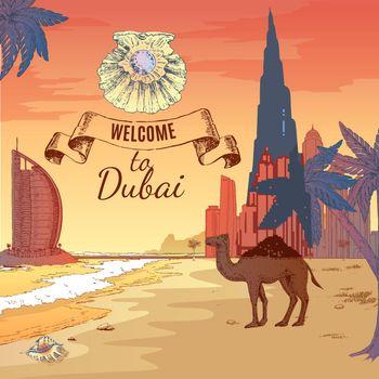 Hand Drawn Dubai Background