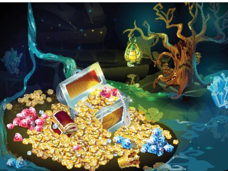 Cartoon Game Treasure And Trophies Background