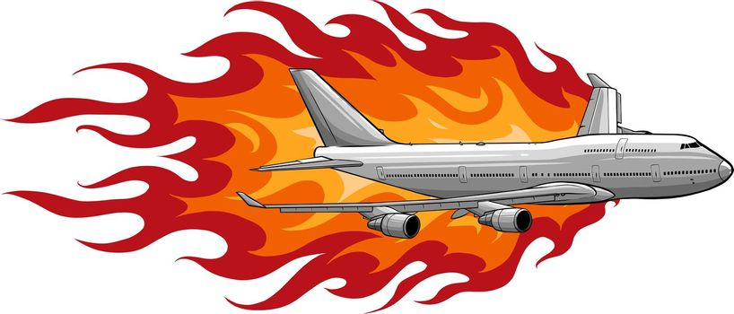 vector illustration of civil aircraft with flames