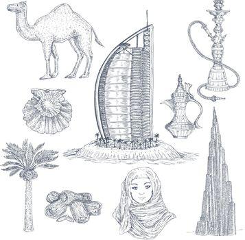 Dubai Drawn Elements Set