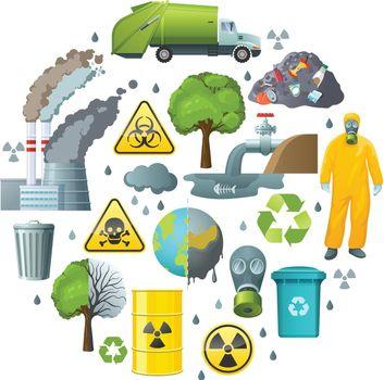 Environmental Pollution Circle Composition