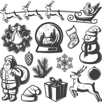 Christmas Monochrome Elements Set