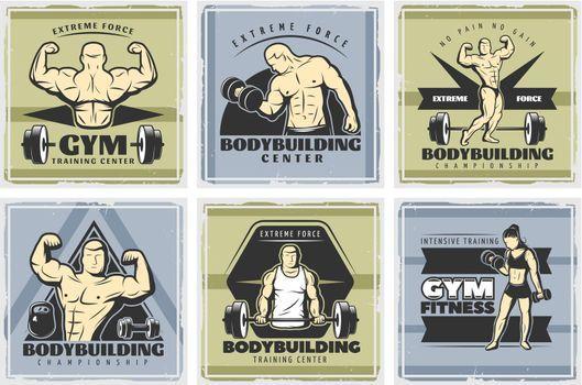 Vintage Body Building Poster Set