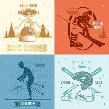 Nordic Skiing Retro Style Emblems