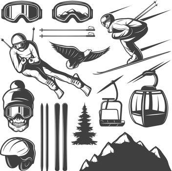 Nordic Skiing Elements Set