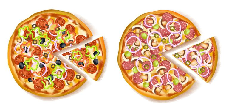 Pizza With Slice Composition