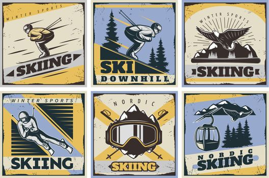 Nordic Skiing Posters Set