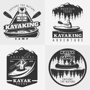 Kayaking Adventure Emblems Composition