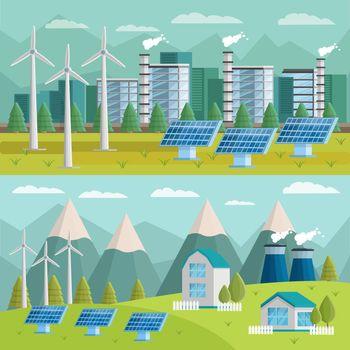 Ecology Orthogonal Illustrations Set
