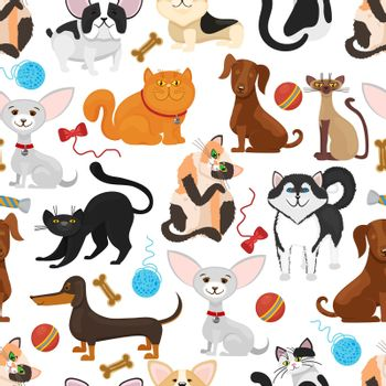 Pet vector background. Dogs and cats seamless pattern