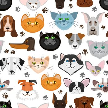 Dog and cat seamless pattern. Pets animals vector background