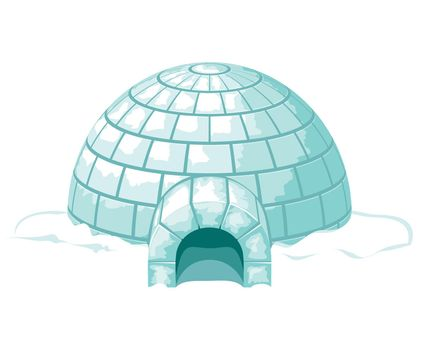 Igloo. Icy cold home or ice house vector illustration