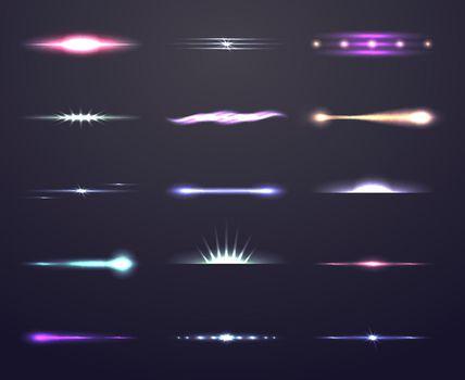 Vector glow light effect set