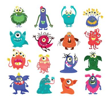Cartoon cute monsters set