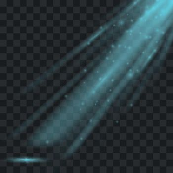 Ray of light. Vector transparent beam on checkered background