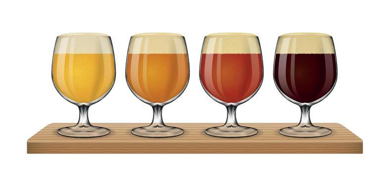 Beer light on white background vector