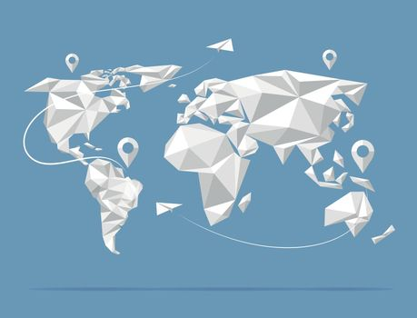 Low poly world map vector illustration