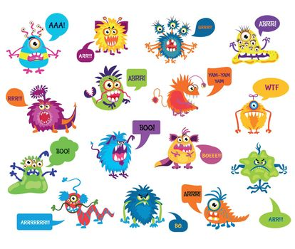 Cartoon silly monsters with funny inscriptions vector illustration