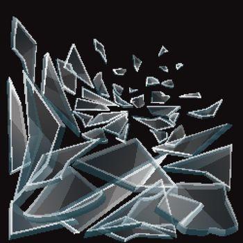 Broken glass pieces flow vector illustration